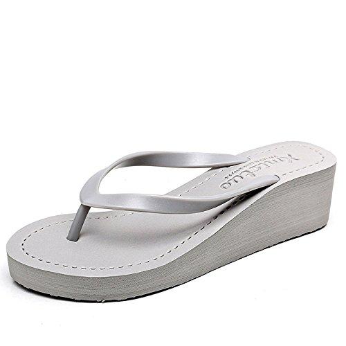 Sandales Et Simples Et Sandales Mi épaisses Élégantes CHENGXIAOXUAN Grey Sandales Pantoufles Pantoufles Neuves Talon Semelles Pantoufles Sandales Femme Tongs pour à Antidérapantes p56fT6Uwq