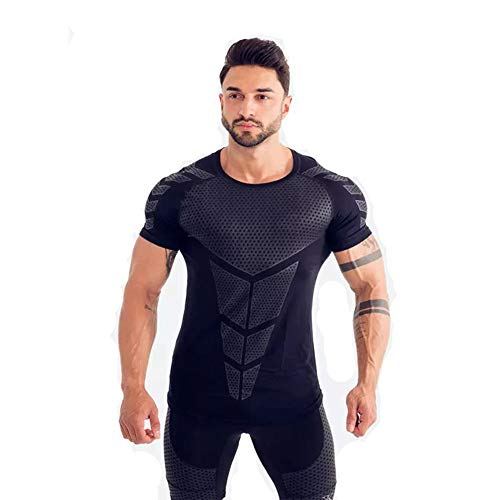 Gym Suits Coach Sports T-Shirt Muscle Tights Men's Brothers high Stretch Training Speed Dry Clothes (Black, L)