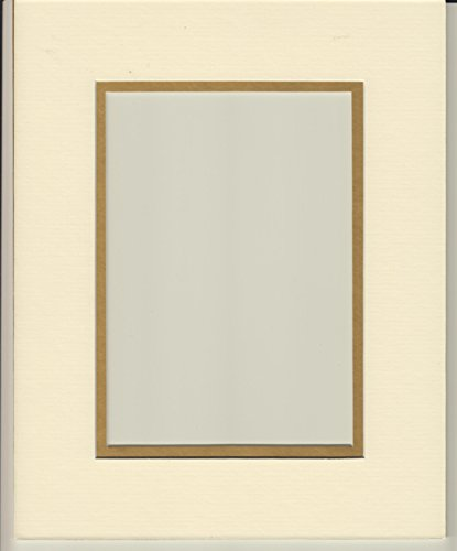 Pack of 5 11x14 Cream & Gold Double Picture Mats Cut for 8x10 Pictures