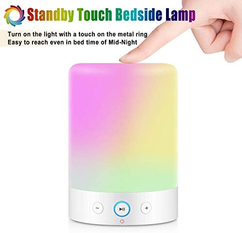 MRCOOL Bedside Table Lamp with Bluetooth Speaker, LED Desk Lamp Night Light with Colour Changing, Gifts for Women Men Teens Kids