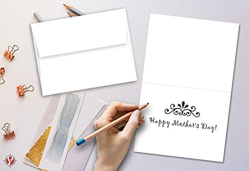 White Blank Greeting Fold Over Cards 80lb. Uncoated, 4 1/2 X 6 Inches Cards - 40 Foldover Greeting Cards Cards and Envelopes by S Superfine Printing (Image #3)