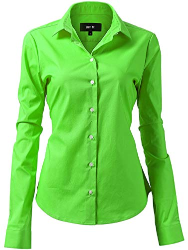 Basic Long Sleeve Cotton Simple Button Down Shirts for Women Green Shirts Size 6
