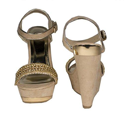 Deliziosa Fifi! Womens Sandalo Con Zeppa In Pelle Scamosciata Color Oro E Diamanti