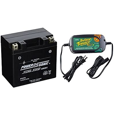 Power-Sonic (PTZ7S) Sealed Maintenance Free Powersport Battery and Battery Tender 022-0185G-dl-wh Black 12 Volt 1.25 Amp Plus Battery Charger/Maintainer Bundle