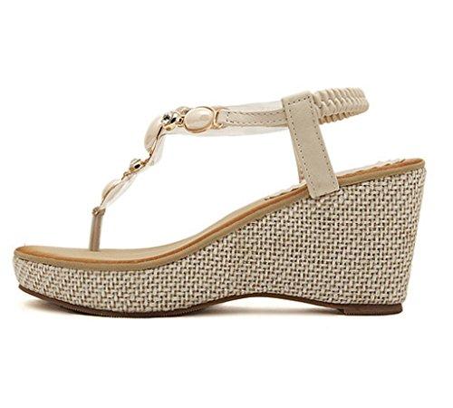 Verano Beige Mujer Sandalias Dedo Clip Minetom Zapatos Pie Bohemio Estilo Cuña Del Elegante De Za44qwTU