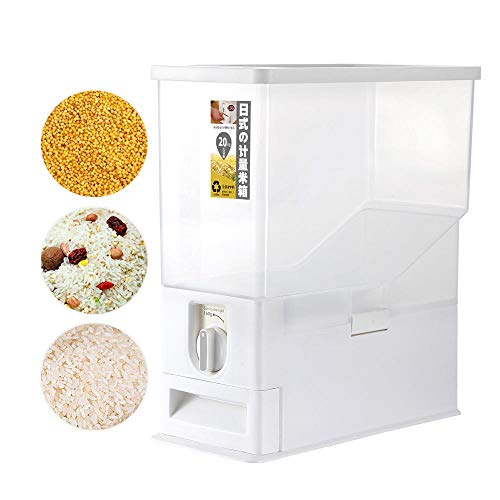 (Volwco Rice Dispenser, Rice Storage Container, Rice Bin Container, Measureable Rice Cylinder, Kitchen Dry Food Rice Dispenser Plastic Container Auto Dispenser Organizer Set, 15KG Capacities of Rice )