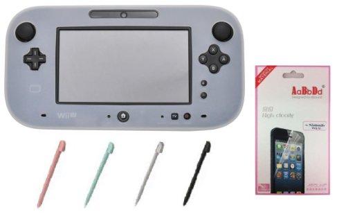 セット販売 PLATA Wii U ゲームパッド アクセサリセット シリコン カバー クリアホワイト / 液晶保護フィルム / タッチペン 4本