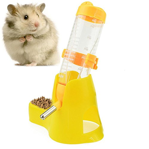 (125ml Pet Drinking Bottle with Food Container Base Hanging Water Feeding Bottles Auto Dispenser for Hamsters Rats Small Animals Ferrets Rabbits Small Animals (125ML, Yellow))