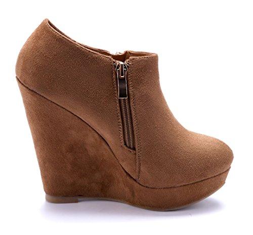f8d957650c9e6f Damen Schuhe Ankle Boots Stiefel Stiefeletten Camel Keilabsatz  Reißverschluss 12 cm High Heels Schuhtempel24