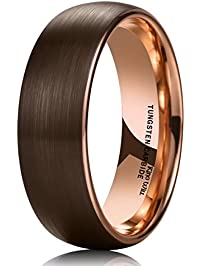 king will duo 8mm dome brown tungsten carbide wedding band ring rose gold inside comfort fit