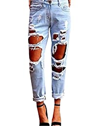 Women Destroyed Boyfriend Jeans,Sexy Ripped Holes Denim Pants