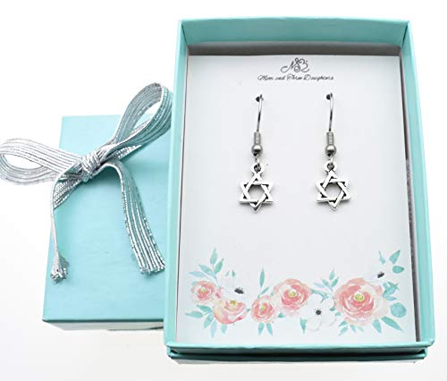 Star of David earrings in silver pewter. Star of David charms. Jewish jewelry. Jewish gifts. Jewish star.