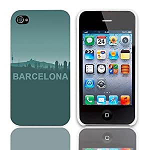 CL - Patrón Barcelona Design estuche rígido con paquete de 3 protectores de pantalla para iPhone 4/4S