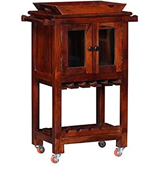 Ringabell Rye On Wheel Solid Wood Bar Cabinet (Honey Oak Finish)
