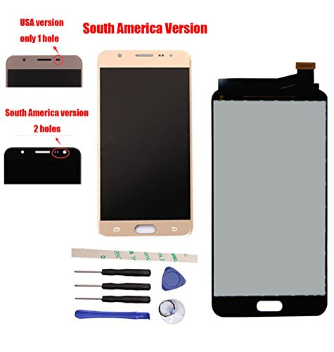 LCD Display Touch Screen Digitizer Assembly Replacement For Galaxy J7 Prime G610 G6100 G610F SM- G610M/DS SM-610F/DS On7 2016 South America Version (gold)