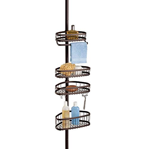 InterDesign York Metal Wire Tension Rod Corner Shower Caddy, Adjustable 5'-9' Pole and Baskets for Shampoo, Conditioner, Soap with Hooks for Razors, Towels, Bronze