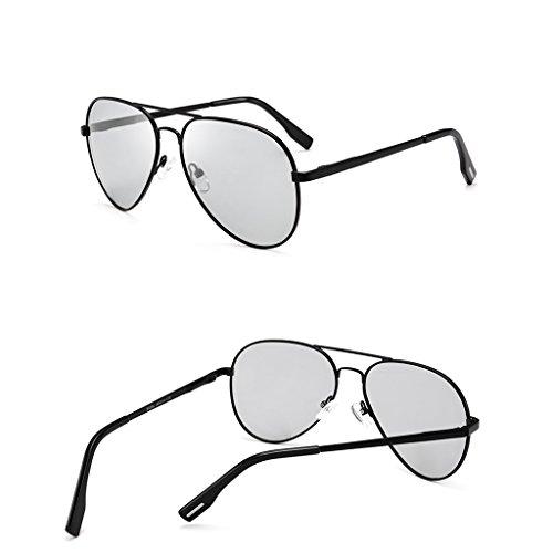 Unisex De Plata Redonda UV400 Sol La Sol Noche Para Gafas Negro De HAIYING Frame Gafas Mujeres Wayfarer Aplican Color Moda Metal Metal Circle Día Se Negro Y Polarizadas Hombres p58xxaqT