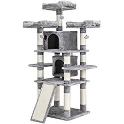 """SONGMICS 67"""" Cat Tree Condo with Scratching Post Pad Cat Tower Furniture House Light Grey UPCT18W"""