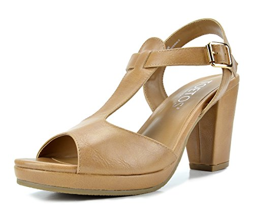 - TOETOS DIANE-05 New Women's T-Strap Open Toes Mid Chunky Heels Platform Dress Sandals Nude Size 7.5