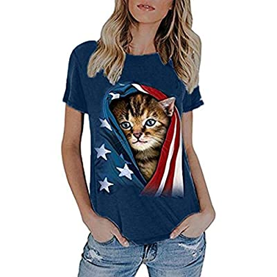 RAINED-4th July Tops for Women Summer American Flag Printed Top Shirt Short Sleeve Casual Tops Patriotic USA Flag Tee