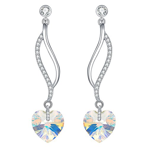 BriLove 925 Sterling Silver Heart Earrings Swarovski Crystal CZ Hollow Leaf Chandelier Dangle Earrings for Women Iridescent Aurora Borealis Clear AB
