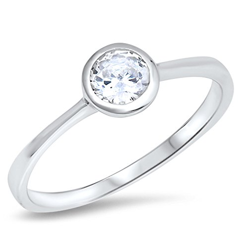 Bezel Round Solitaire White CZ Wedding Ring .925 Sterling Silver Band Size 6 ()