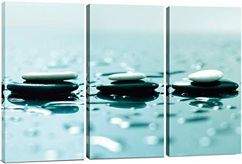 Canvas Wall Art Decor - 12x24 3 Piece Set (Total 24x36 inch) - Relaxing Zen Stones - Decorative & Modern Multi Panel Split Canvas Prints for Dining & Living Room, Kitchen, Bedroom, Bathroom & Office