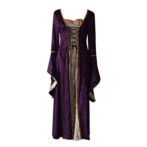 Women Cosplay Princess Dress-Medieval Vintage Trumpet Swing Evening Dresses Performance Halloween Costume S-3XL Purple]()