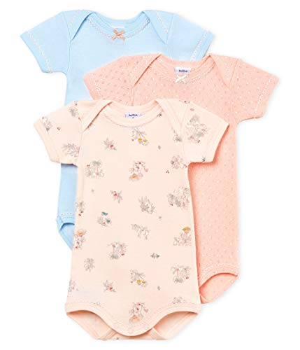 Petit Bateau Baby Girl's Short-Sleeved Bodysuit - Set of 3 Style 47947 Sizes 3-36/M (Size 36 Month Style 47947 Girls)