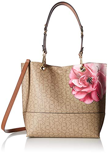 Calvin Klein Sonoma Signature North/South Tote, textured khaki/brown/luggage floral
