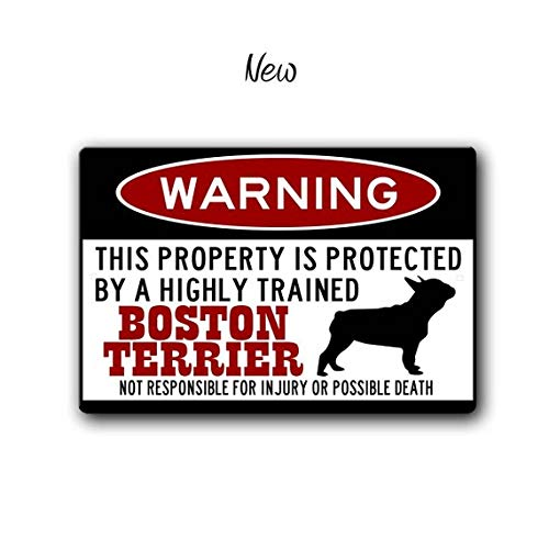 ChristBess Boston Terrier Sign,Funny Metal Signs,Dog Warning Sign,Protected by,Boston Bull Terrier Sign,Warning Sign,Boston Terrier Gift ()