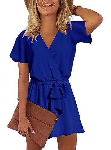 REORIA Womens Casual Summer One Piece Ruffles Short Sleeve V Neck Tie Front Belted Wrap Playsuits Short Jumpsuit Beach Rompers Royal Blue Small]()