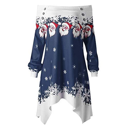 Noël Ourlet Bleu3 Sans Décontractée Hiver Manche Imprimé Neck Longue Sweat Irrégulier Haut Bretelles Uface Femmes Mode L'automne Bouton Slash Chemisier Asymétrique shirt ZYXqp