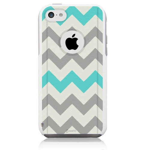 Unnito iPhone 5C Case - Hybrid Commuter Case | Slim Cover with Hard Shell Design and Soft Inner Layer Compatible with iPhone 5C White Case - Chevron Grey Teal