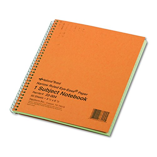 National 33004 Subject Wirebound Notebook, Narrow Rule, 8 1/4 x 6 7/8, Green, 80 (Narrow Ruled Notebook)