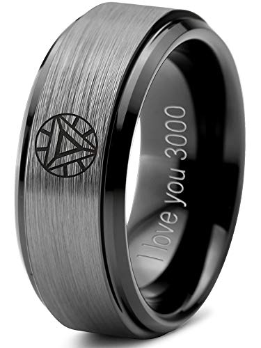 Zealot Jewelry Tungsten Quote I Love You 3000 Engraved Band Ring 8mm Men Women Comfort Fit Black Step Bevel Edge Brushed Gray Polished Size 12.5