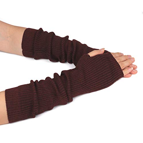 Flammi Women's Knit Arm Warmers Cashmere Long Fingerless Gloves Thumbhole Mittens (Burgundy)