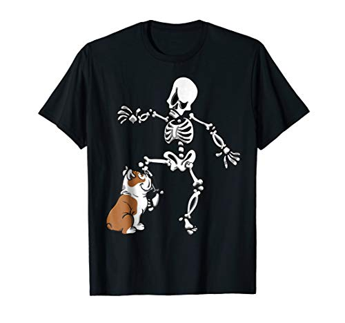 English Bulldog Biting Skeleton Leg Halloween T-Shirt]()