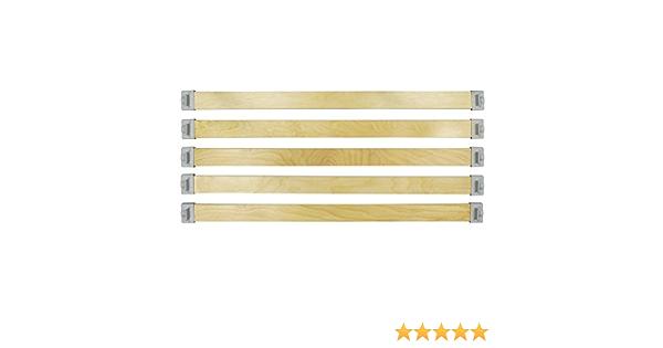 wiedergutschlafen Juego completo de fijación de 50 mm x 8 mm (5 listones de madera y 10 tapas de fijación) para reequipamiento de su somier (580).