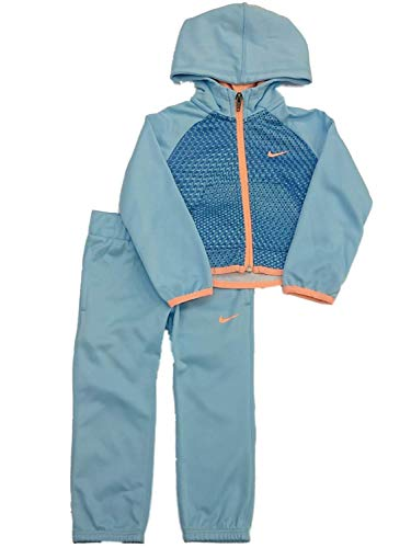 Nike Little Girls` Therma-Fit Full Zip Hoodie & Jogging Pants 2 Piece Set (Blue Chill(26D727-U9G)/Orange, 2T)