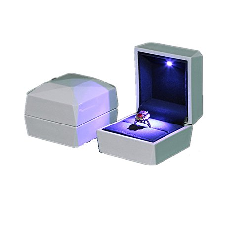 Sparkle Ring Box - Ring Box, ASAPS Square White Velvet Wedding Ring Box with LED Light for Proposal / for Engagement (White-Small)