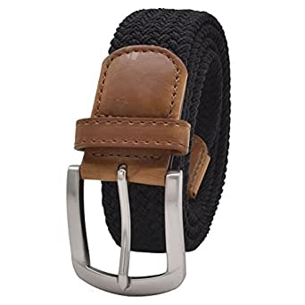 Stretch Belt Vonsely Elastic Belts Braided Fabric Belt Colorful Woven Belts for Men and Women Black