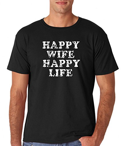 AW Fashions Happy Wife, Happy Life - Funny Marriage Premium Men's T-Shirt (X-Large, Black)