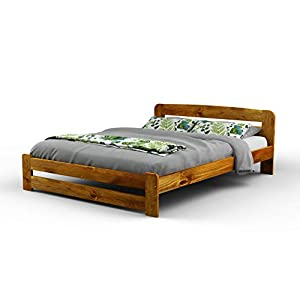 "New Super King Size Solid Wooden Pine Bedframe""F1″ with slats and extra four supportive legs(6ft, oak)"