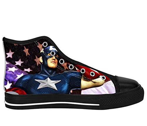 Mens Canvas Hoge Schoenen Kapitein America Print Kapitein Shoes14