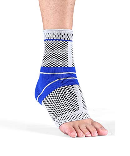 Ankle Brace Compression Support Sleeve with Silicone Gel for Men or Women, Boosts Recovery from Injury, Plantar Fasciitis, Heel Spurs, Achilles Tendon, Joint Pain, Sprain and Prevent Injuries (Medium)