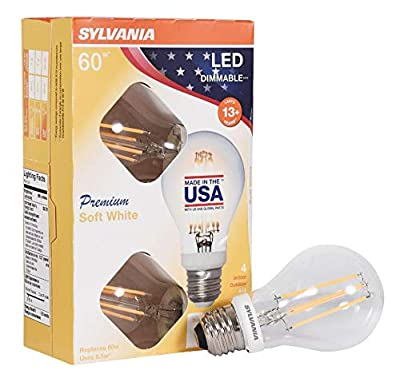 SYLVANIA 40249 60 Watt Equivalent, A19 LED Light Bulbs, Dimmable, Soft White Color 2700K, Made in The USA with US and Global Parts, 4 Pack
