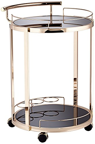 Studio 55D Treviso Round Black Glass and K-Gold Serving Cart Freestanding Serving Cart