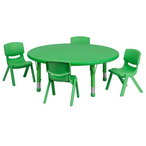 45 Inch Round Adjustable Green - Parkside 45 in. Round Adjustable Green Plastic Activity Table Set with 4 School Stack Chairs