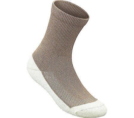 OrthoFeet BioSoft Padded Sole Diabetic Socks - 3 Pair - XL - Brown/White - E2010E2030